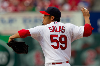 ST. LOUIS, MO - JUNE 5: Reliever Fernando Salas #59 of the St. Louis Cardinals pitches against the Chicago Cubs at Busch Stadium on June 5, 2011 in St. Louis, Missouri.  The Cardinals beat the Cubs 3-2 in 10 innings.  (Photo by Dilip Vishwanat/Getty Image