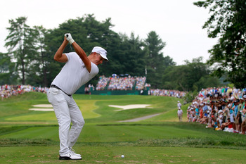 BETHESDA, MD - JUNE 19:  Fredrik Jacobson of Sweden watches his tee shot on the seventh hole during the final round of the 111th U.S. Open at Congressional Country Club on June 19, 2011 in Bethesda, Maryland.  (Photo by Chris Trotman/Getty Images)