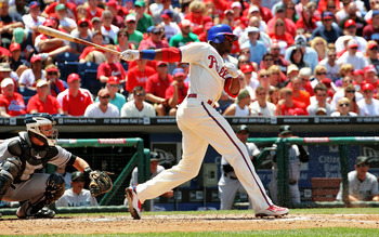 PHILADELPHIA - JUNE 15:  Domonic Brown #9  of the Philadelphia Phillies bats in the third inning against the Florida Marlins during game one of a day night double header at Citizens Bank Park on June 15, 2011 in Philadelphia, Pennsylvania.  The Phillies d