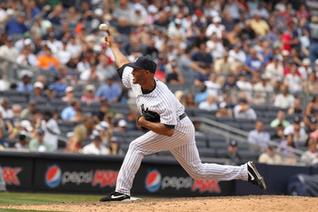 NEW YORK, NY - JUNE 16:  Mariano Rivera #42 of the New York Yankees in action against the Texas Rangers during their game on June 16, 2011 at Yankee Stadium in the Bronx borough of New York City.  (Photo by Al Bello/Getty Images)