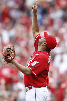 CINCINNATI, OH - JUNE 19: Francisco Cordero #48 of the Cincinnati Reds celebrates after pitching the final out in the ninth inning against the Toronto Blue Jays at Great American Ball Park on June 19, 2011 in Cincinnati, Ohio. The Reds defeated the Blue J