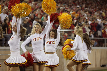PALO ALTO, CA - OCTOBER 09:  The USC Trojan cheerleaders cheer for their team during their game against the Stanford Cardinal at Stanford Stadium on October 9, 2010 in Palo Alto, California.  (Photo by Ezra Shaw/Getty Images)
