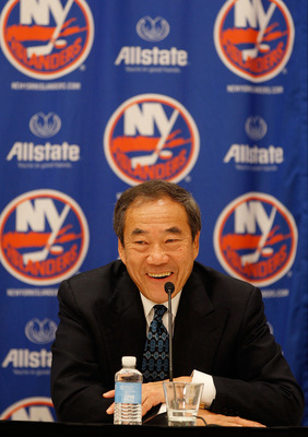 UNIONDALE, NY - MAY 26:  New York Islanders Owner Charles Wang speaks to the media during a press conference to announce Doug Weight's retirement on May 26, 2011 at the Long Island Marriott in Uniondale, New York.  (Photo by Mike Stobe/NHLI via Getty Imag