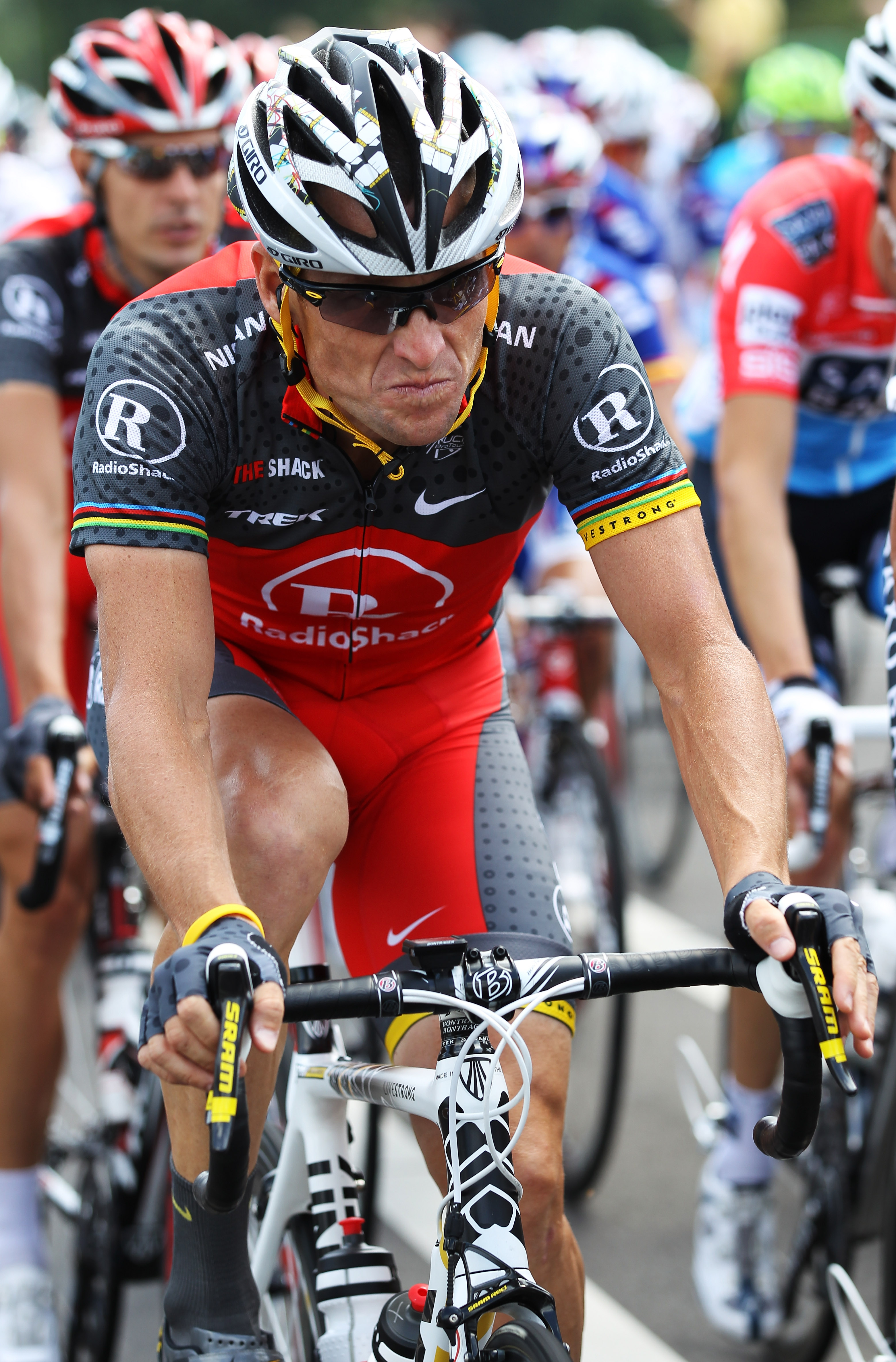 BRUSSELS, BELGIUM - JULY 04:  Lance Armstrong of the USA and Team Radioshack rides in the peloton during stage one of the 2010 Tour de France from Rotterdam to Brussels on July 4, 2010 in Brussels, Belgium.  (Photo by Bryn Lennon/Getty Images)