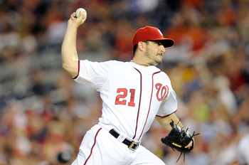 WASHINGTON, DC - JUNE 17:  Jason Marquis #21 of the Washington Nationals pitches against the Baltimore Orioles at Nationals Park on June 17, 2011 in Washington, DC.  (Photo by Greg Fiume/Getty Images)