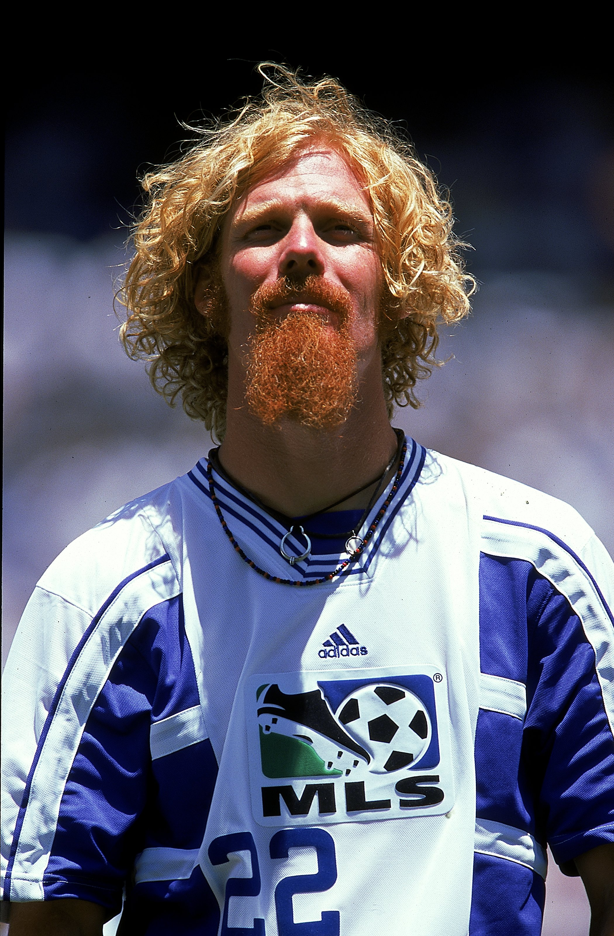 17 Jul 1999:  A close up of Alexi Lalas #22 of the West Team as he stands on the field before the MLS All-Star Game against the East Team  at the Qualcomm Stadium in San Diego, California. The West defeated the East 6-4. Mandatory Credit: Todd Warshaw  /A