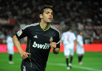 SEVILLE, SPAIN - MAY 07: Kaka of Real Madrid goes to take a corner kick during the La Liga match between Sevilla and Real Madrid at Estadio Ramon Sanchez Pizjuan on May 7, 2011 in Seville, Spain.  (Photo by Denis Doyle/Getty Images)