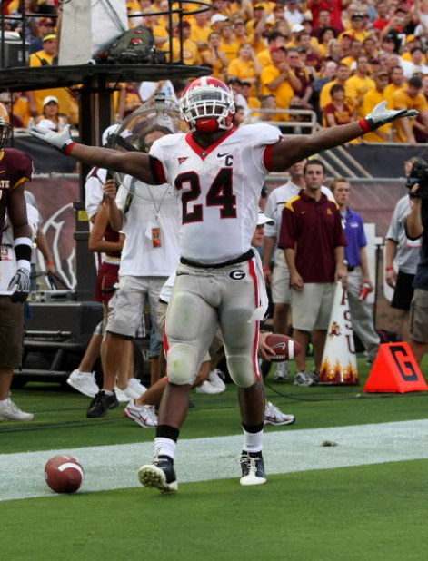 TEMPE, AZ - SEPTEMBER 20:  Tailback Knowshon Moreno #24 of the Georgia Bulldogs celebrates scoring a touchdown against the Arizona State Sun Devils on September 20, 2008 at Sun Devil Stadium in Tempe, Arizona.  (Photo by Stephen Dunn/Getty Images)