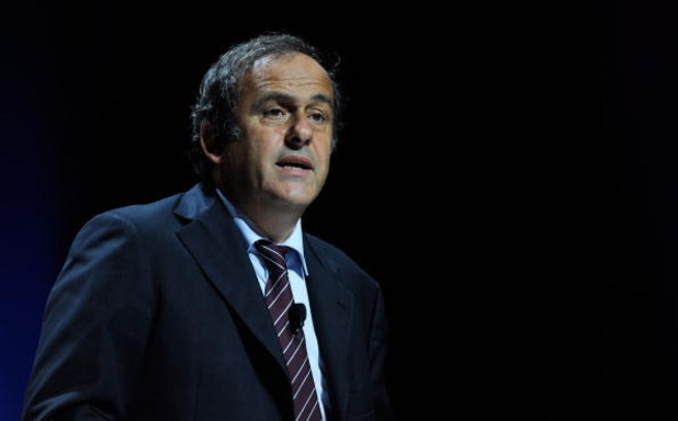 MONACO - AUGUST 28:  UEFA President Michel Platini speaks to the media during the UEFA Europa League Group Stage Draw at the Grimaldi Forum on August 28, 2009 in Monaco, Monaco.  (Photo by Laurence Griffiths/Getty Images)
