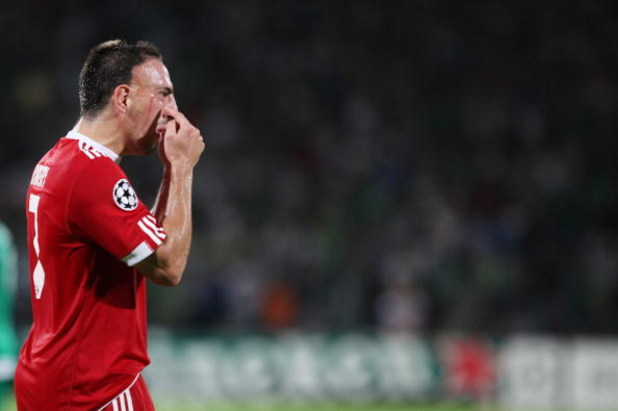RAMAT GAN, ISRAEL - SEPTEMBER 15: (ISRAEL OUT) Franck Ribery #7 of  FC Bayern Muenchen gestures during the UEFA Champions League Group A match between Maccabi Haifa and FC Bayern Muenchen at Ramat Gan Stadium on September 15, 2009 in Ramat Gan, Israel. (P