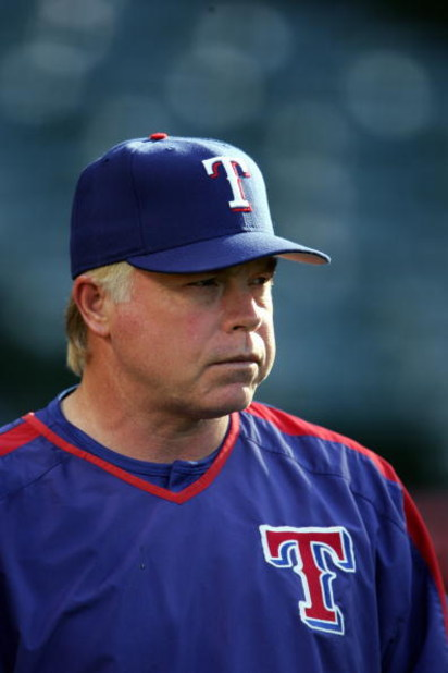 ANAHEIM, CA - JUNE 20:  Buck Showalter #11 of the Texas Rangers looks on during batting practice before the game against the Los Angeles Angels of Anaheim at Angel Stadium on June 20, 2005 in Anaheim, California.  The Angels defeated the Rangers 5-1.  (Ph