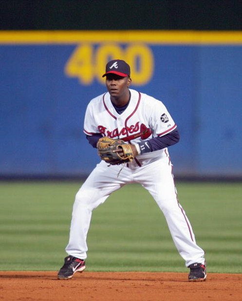 ATLANTA - APRIL 6: Edgar Renteria #11 of the Atlanta Braves stands ready on the field against the New York Metsduring the Braves home season opening game at Turner Field April 6, 2007 in Atlanta, Georgia. (Photo by Streeter Lecka/Getty Images)