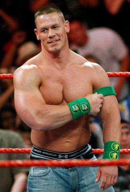 LAS VEGAS - AUGUST 24:  Wrestler John Cena appears in the ring during the WWE Monday Night Raw show at the Thomas & Mack Center August 24, 2009 in Las Vegas, Nevada.  (Photo by Ethan Miller/Getty Images)