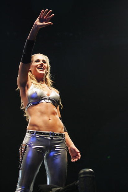 SYDNEY, AUSTRALIA - JUNE 15:  Michelle McCool waves to the fans during WWE Smackdown at Acer Arena on June 15, 2008 in Sydney, Australia.  (Photo by Gaye Gerard/Getty Images)