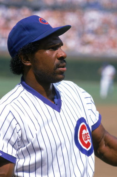 CHICAGO - 1988:  Andre Dawson #8 of the Chicago Cubs looks on during a game in 1988 at Wrigley Field in Chicago, Illinois.  (Photo by Jonathan Daniel/Getty Images)