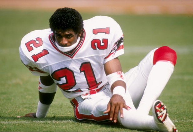 10 Sep 1989:  Defensive back Deion Sanders of the Atlanta Falcons looks on during a game against the Los Angeles Rams at Fulton County Stadium in Atlanta, Georgia.  The Rams won the game 31-21. Mandatory Credit: Allen Steele  /Allsport