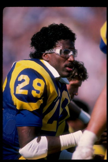 Running back Eric Dickerson of the Los Angeles Rams looks on during a game at Anaheim Stadium in Anaheim, California.