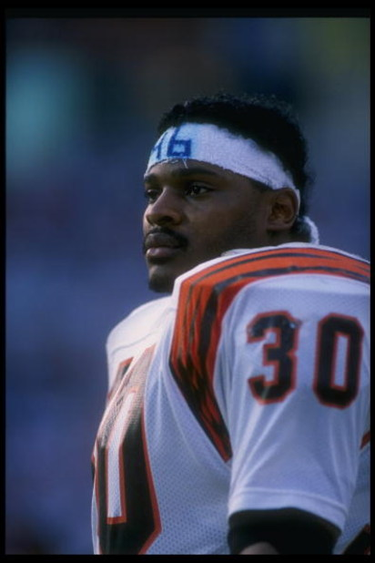 1990:  Running back Ickey Woods of the Cincinnati Bengals looks on during a game. Mandatory Credit: Mike Powell  /Allsport