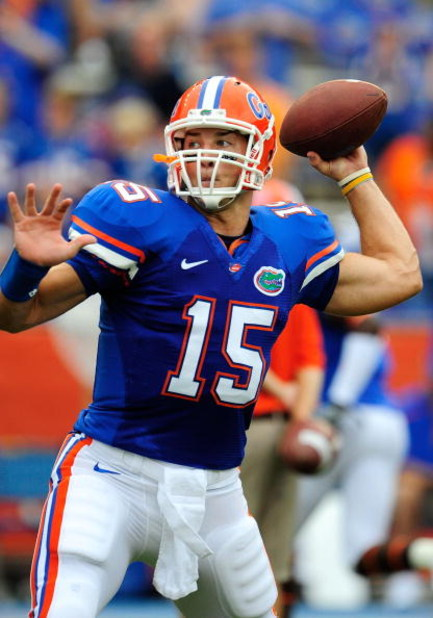 GAINESVILLE, FL - SEPTEMBER 5:  Quarterback Tim Tebow #15 of the Florida Gators sets up to throw during warm-up prior to the game against the Charleston Southern Buccaneers at Ben Hill Griffin Stadium on September 5, 2009 in Gainesville, Florida.  (Photo