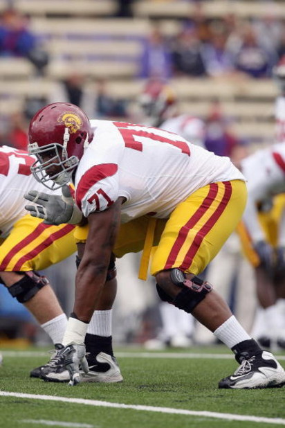 SEATTLE - SEPTEMBER 19: Charles Brown #71 of the USC Trojans gets ready at the line of scrimmage during the game against the Washington Huskies on September 19, 2009 at Husky Stadium in Seattle, Washington. The Huskies defeated the Trojans 16-13. (Photo b
