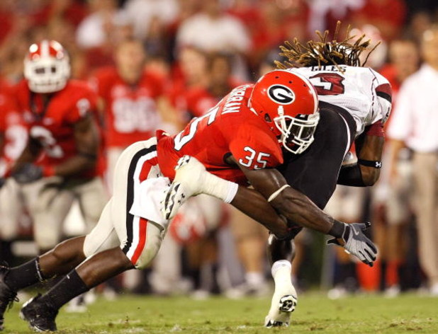 ATHENS, GA - SEPTEMBER 12:  Rennie Curran #35 of the Georgia Bulldogs against the South Carolina Gamecocks at Sanford Stadium on September 12, 2009 in Athens, Georgia.  (Photo by Kevin C. Cox/Getty Images)