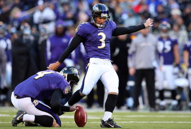 BALTIMORE - NOVEMBER 23:  Matt Stover #3 of the Baltimore Ravens kicks a field goal against the Philadelphia Eagles on November 23, 2008 at M&T Bank Stadium in Baltimore, Maryland. The Ravens defeated the Eagles 36-7.  (Photo by Jim McIsaac/Getty Images)