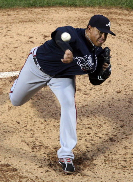 NEW YORK - AUGUST 19:  Jair Jurrjens #49 of the Atlanta Braves pitches against the New York Mets on August 19, 2009 at Citi Field in the Flushing neighborhood of the Queens borough of New York City.  (Photo by Jim McIsaac/Getty Images)