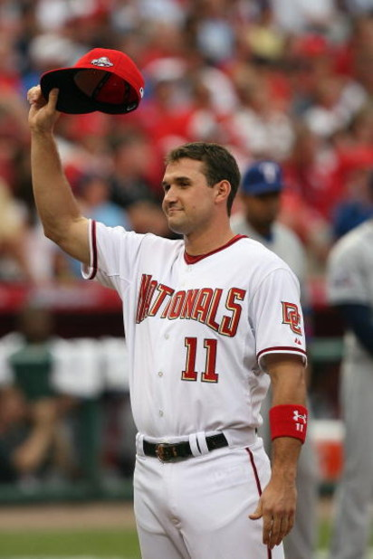 ST. LOUIS, MO - JULY 14:  National League All-Star Ryan Zimmerman of the  Washington Nationals tips his hat during introductions before the 2009 MLB All-Star Game at Busch Stadium on July 14, 2009 in St. Louis, Missouri. (Photo by Dilip Vishwanat/Getty Im