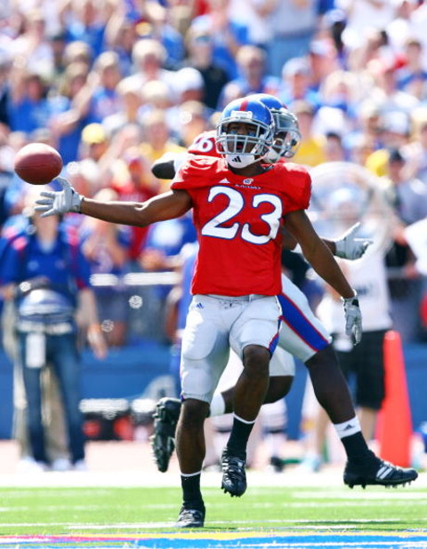 LAWRENCE, KS - SEPTEMBER 26:  Ryan Murphy #23 of the Kansas Jayhawks reacts after making an interception during the game against the Southern Mississippi Golden Eagles on September 26, 2009 at Memorial Stadium in Lawrence, Kansas.  (Photo by Jamie Squire/