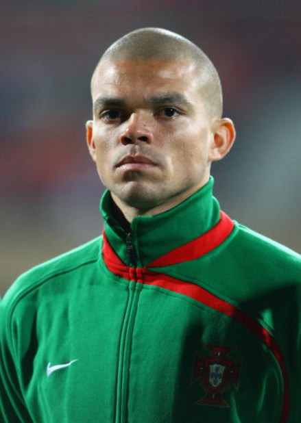 LAUSANNE, SWITZERLAND - MARCH 31:  Pepe of Portugal looks on during the International Friendly match between South Africa and Portugal at Olimpico de Lausanne on March 31, 2009 in Lausanne, Switzerland.