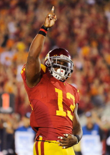 LOS ANGELES, CA - SEPTEMBER 26:  Stafon Johnson#13 of the USC Trojans celebrates his touchdown against the Washington State Cougars during the fourth quarter of the college football game at the Los Angeles Memorial Coliseum on September 26, 2009 in Los An