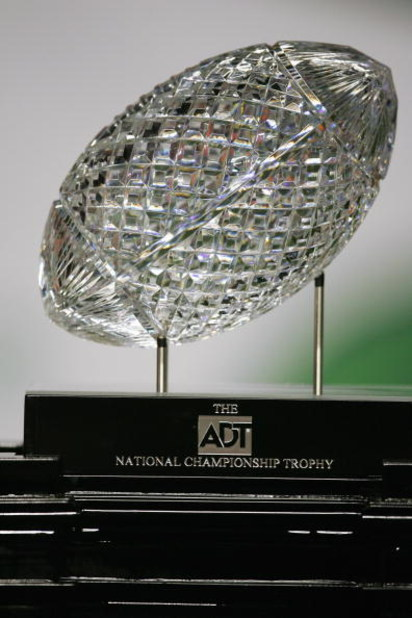 MIAMI - JANUARY 4:  The 2005 FedEx Orange Bowl National Championship trophy awaits USC on January 4, 2005 at Pro Player Stadium in Miami, Florida.  The USC Trojans defeated the Oklahoma Sooners 55-19. (Photo by Jamie Squire/Getty Images)