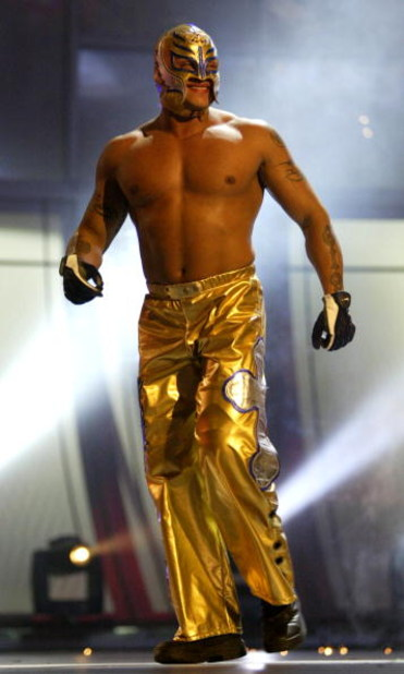 LAS VEGAS - DECEMBER 2:  (U.S. TABLOIDS OUT)   WWE wrestler Rey Mysterio walks on stage during the '1st Annual Video Game Awards' at the MGM Grand Garden Arena December 2, 2003 in Las Vegas, Nevada.  The show premieres on Spike T.V. Thursday, December 4 a