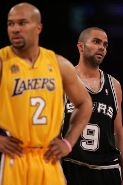 LOS ANGELES, CA - MAY 29:  Tony Parker #9 of the San Antonio Spurs reacts in the final minute alongside Derek Fisher #2 of the Los Angeles Lakers in Game Five of the Western Conference Finals during the 2008 NBA Playoffs on May 29, 2008 at Staples Center