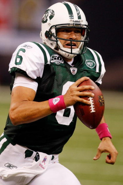 NEW ORLEANS - OCTOBER 04:  Quarterback Mark Sanchez #6 of the New York Jets scrambles against the New Orleans Saints at the Louisana Superdome on October 4, 2009 in New Orleans, Louisiana.  (Photo by Chris Graythen/Getty Images)
