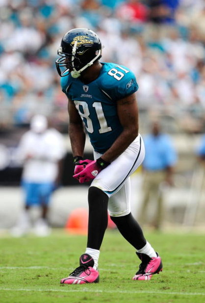 JACKSONVILLE, FL - OCTOBER 04:  Torry Holt #81 of the Jacksonville Jaguars lines up during the game against the Tennessee Titans at Jacksonville Municipal Stadium on October 4, 2009 in Jacksonville, Florida.  (Photo by Sam Greenwood/Getty Images)