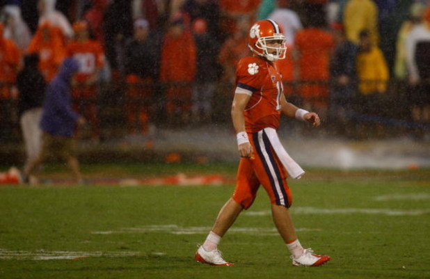 CLEMSON, SC - SEPTEMBER 26:  Kyle Parker #11 of the Clemson Tigers walks off the field during their game against the TCU Horned Frogs at Memorial Stadium on September 26, 2009 in Clemson, South Carolina.  (Photo by Streeter Lecka/Getty Images)