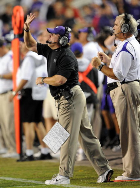 FORT WORTH, TX - OCTOBER 16:  Head coach Gary Patterson of the TCU Horned Frogs during play against the BYU Cougars at Amon G. Carter Stadium on October 16, 2008 in Fort Worth, Texas.  (Photo by Ronald Martinez/Getty Images)
