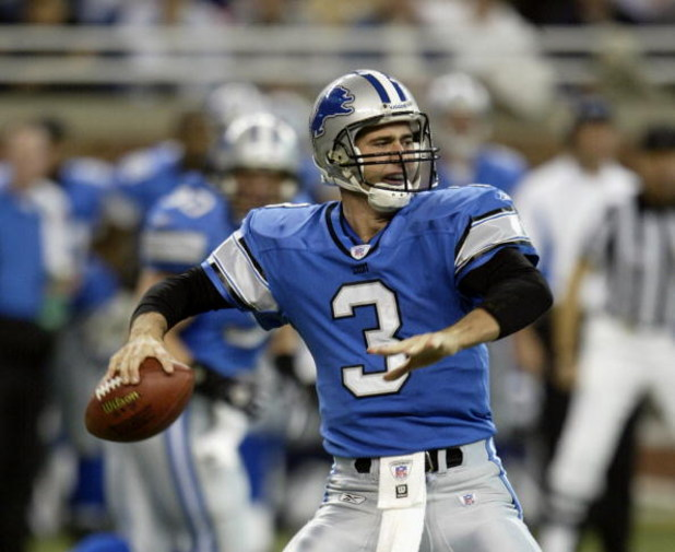 DETROIT - NOVEMBER 7:  Quarterback Joey Harrington #3 of the Detroit Lions passes the ball against the Washington Redskins during the game at Ford Field on November 7, 2004 in Detroit, Michigan. The Redskins defeated the Lions 17-10.  (Photo by Tom Pidgeo