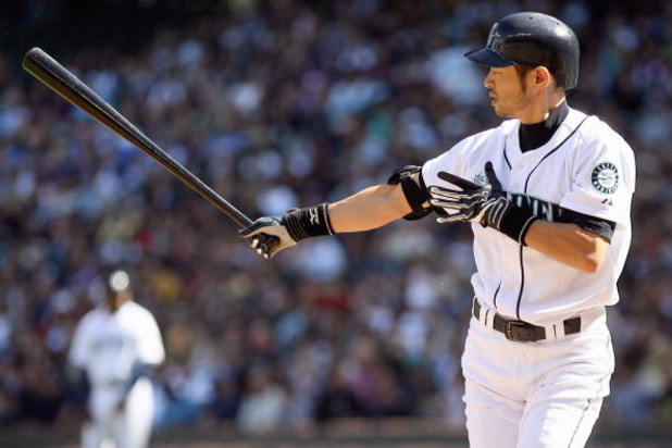 SEATTLE - SEPTEMBER 20:  Ichiro Suzuki #51 of the Seattle Mariners stands at bat during the game against the New York Yankees on September 20, 2009 at Safeco Field in Seattle, Washington. (Photo by Otto Greule Jr/Getty Images)