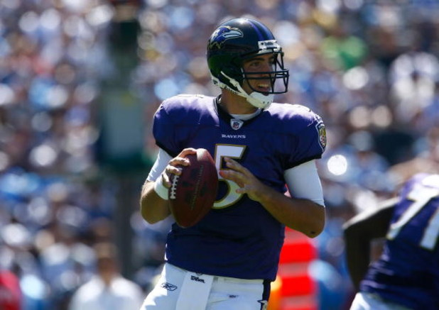 SAN DIEGO - SEPTEMBER 20:  Quarterback Joe Flacco #5 of the Baltimore Ravens plays against the San Diego Chargers at Qualcomm Stadium on September 20, 2009 in San Diego, California.  (Photo by Jeff Gross/Getty Images)