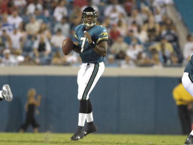JACKSONVILLE, FL - AUGUST 18: Quarterback Byron Leftwich #7 of the Jacksonville Jaguars sets to pass against the Tampa Bay Buccaneers  at Jacksonville  Municipal Stadium on August 18, 2007 in Jacksonville, Florida. (Photo by Al Messerschmidt/Getty Images)