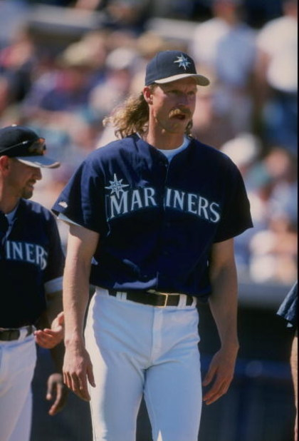 8 Mar 1998:  Pitcher Randy Johnson of the Seattle Mariners in action during a spring training game against the Colorado Rockies at the Peoria Sports Complex in Peoria, Arizona.  The Mariners won the game, 12-6. Mandatory Credit: Jeff Carlick  /Allsport