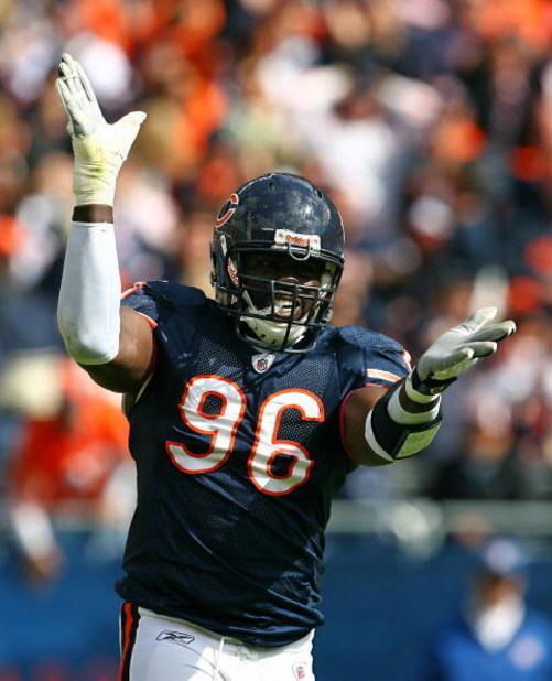 CHICAGO - OCTOBER 04:  Alex Brown #96 of the Chicago Bears celebrates a sack against the Detroit Lions on October 4, 2009 at Soldier Field in Chicago, Illinois. The Bears defeated the Lions 48-24. (Photo by Jonathan Daniel/Getty Images)