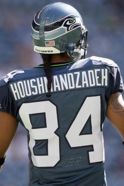 SEATTLE , WA - SEPTEMBER 13:  T.J. Houshmandzadeh #84 of the Seattle Seahawks looks on the field before the game against the St. Louis Rams at Qwest Field on September 13, 2009 in Seattle, Washington. (Photo by Otto Greule Jr/Getty Images)