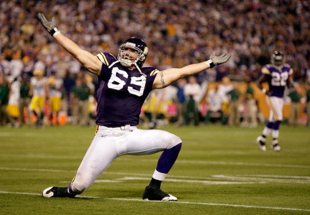 MINNEAPOLIS - OCTOBER 05:  Defensive end Jared Allen #69 of the Minnesota Vikings celebrates after a sack during the Monday Night Football game against the Green Bay Packers on October 5, 2009 at Hubert H. Humphrey Metrodome in Minneapolis, Minnesota.  (P