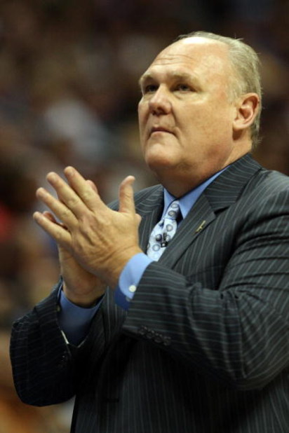 DENVER - MAY 29:  Head coach George Karl of the Denver Nuggets looks on against the Los Angeles Lakers in Game Six of the Western Conference Finals during the 2009 NBA Playoffs at Pepsi Center on May 29, 2009 in Denver, Colorado. NOTE TO USER: User expres