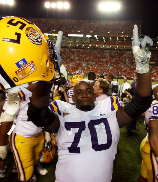 AUBURN, AL - SEPTEMBER 20: Offensive tackle Ciron Black #70 of the LSU Tigers celebrates after defeating the Auburn Tigers at Jordan-Hare Stadium on September 20, 2008 in Auburn, Alabama. (Photo by Doug Benc/Getty Images)