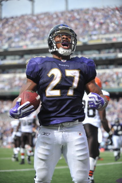 BALTIMORE - SEPTEMBER 27:  Ray Rice #27 of the Baltimore Ravens celebrates his first career touchdown against the Cleveland Browns at M&T Bank Stadium on September 27, 2009 in Baltimore, Maryland. The Ravens defeated the Browns 34-3. (Photo by Larry Frenc