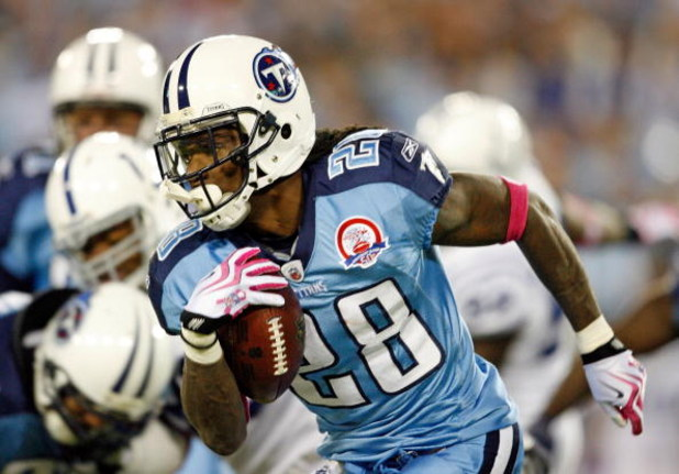 NASHVILLE, TN - OCTOBER 11:  Chris Johnson #28 of the Tennessee Titans runs with the ball during the NFL game against the Indianapolis Colts at LP Field on October 11, 2009 in Nashville, Tennessee.  (Photo by Andy Lyons/Getty Images)